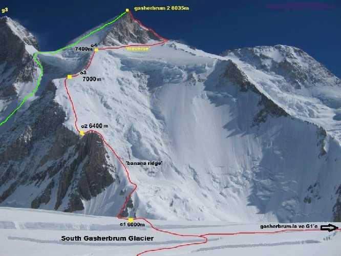 маршрут Honeymoon (зеленая линия) на вершину восьмитысячника Гашербрум II (Gasherbrum II, 8034 м). Красная линия- стандартный маршрут восхождения