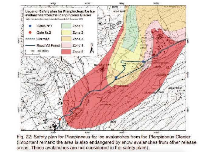 Зона возможного обвала ледника Планпинье (Planpincieux Glacier)