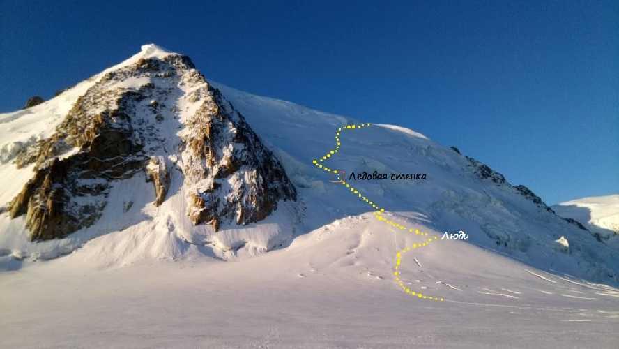 Подъем на Монблан-дю-Такюль (4248 м). Отмечено место ледовой стенки. Фото Владимир Каширин