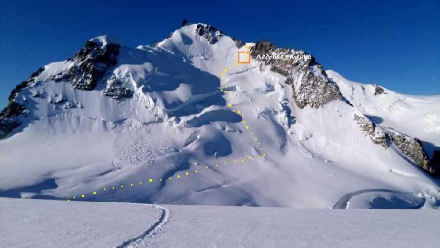 Вершина  Мон-Моди (4465 м). Отмечено место ледовой стенки. Фото Владимир Каширин