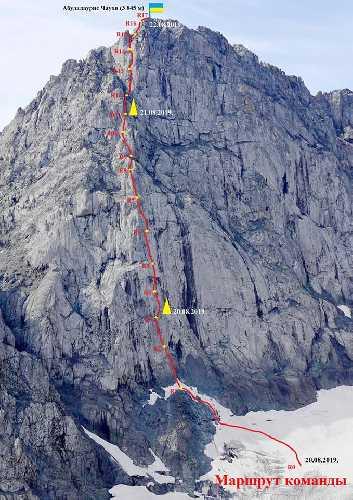 "новый маршрут "" МИФ"" на вершину Абудалаурис Чаухи (3845 м)"
