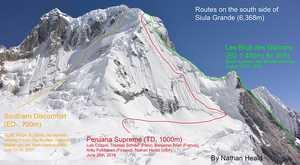 Сиула Гранде: международная команда альпинистов открывает первый маршрут по южной стене