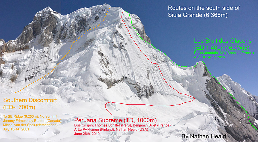 Нитки маршрутов на южной стороне горы Сиула Гранде (Siula Grande, 6368 метров) в Кордильера-Уайуаш в Перу