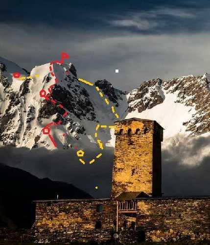 Красная линия - подъёма, жёлтая - спуска. С 4000 м до вершины. Фото Дидора Сергей