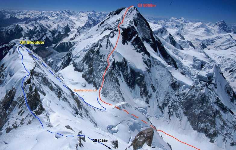 маршрут траверса Гашербрум I (Gasherbrum I, 8080 м) и Гашербрум II (Gasherbrum II, 8034 м).