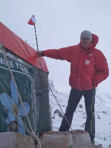 Денис Урубко в базовом лагере Броуд-Пик