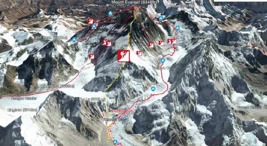 Желтым цветом обозначен маршрут по Западному гребню Эвереста