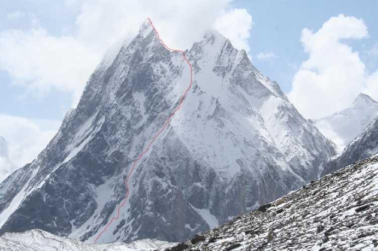 Митре пик (Mitre Peak, 6025 метров). Предполагаемый маршрут спуска
