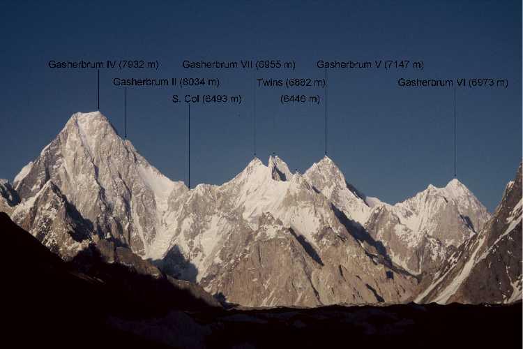Гашербрум Твинс (Gasherbrum Twins), две вершины - близнецы выстой  6882 метров, находящиеся в многовершинном массиве Гашербрум