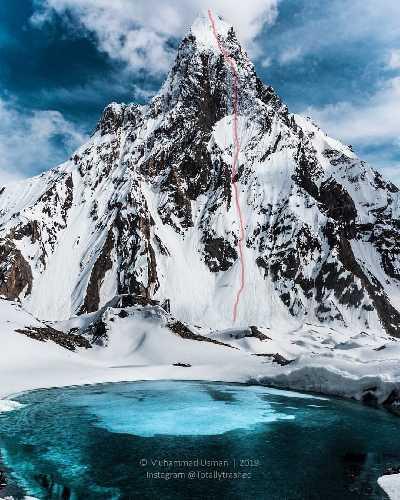Митре пик (Mitre Peak, 6025 метров). Предполагаемый маршрут восхождения