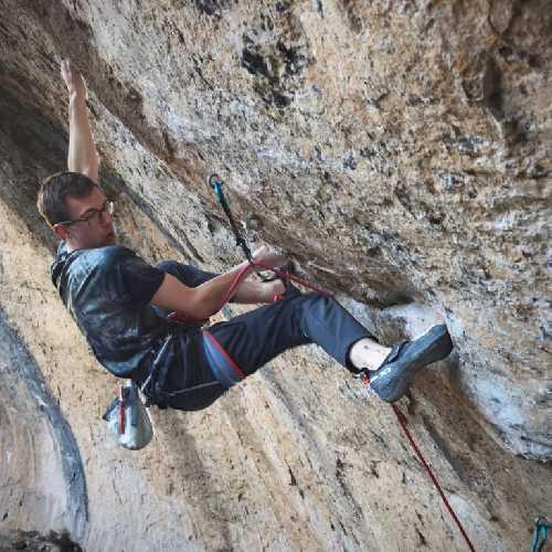 "Уильям Боси (William Bosi) на маршруте ""La Capella"" категории 9b. Фото  Matt Bird"