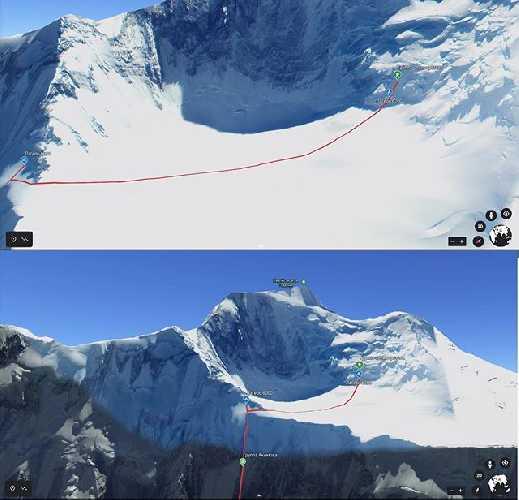 Маршрут команды  RedFoxAsia на пик Исмоила Сомони (пик Коммунизма) высотой 7495 метров