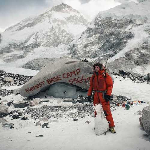 Йошт Кобуш (Jost Kobusch) в базовом лагере Эвереста.
