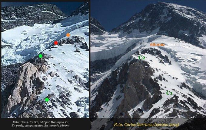 Маршрут восхождения команды Дениса Урубко на Броуд-Пик. Зелёные точки - установленные лагеря. Красная точка - отметка 6800 метров