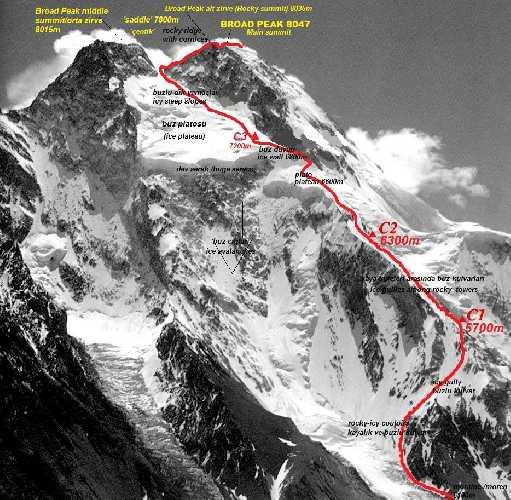 Стандартный маршрут восхождения на Броуд-Пик. Фото Tunç Findik