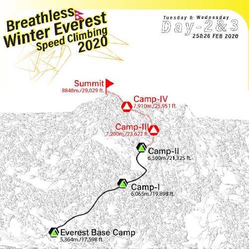 """Маршрут восхождения команды """"Breathless Winter Everest"""""""
