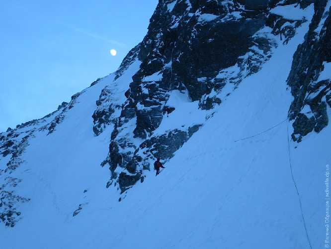 Спуск с Хиньчового (Hińczowa Przełęcz) перевала через Малую Цубрынскую Галерею — крутой снег над 500-метровым сбросом: страховка на случай лавины