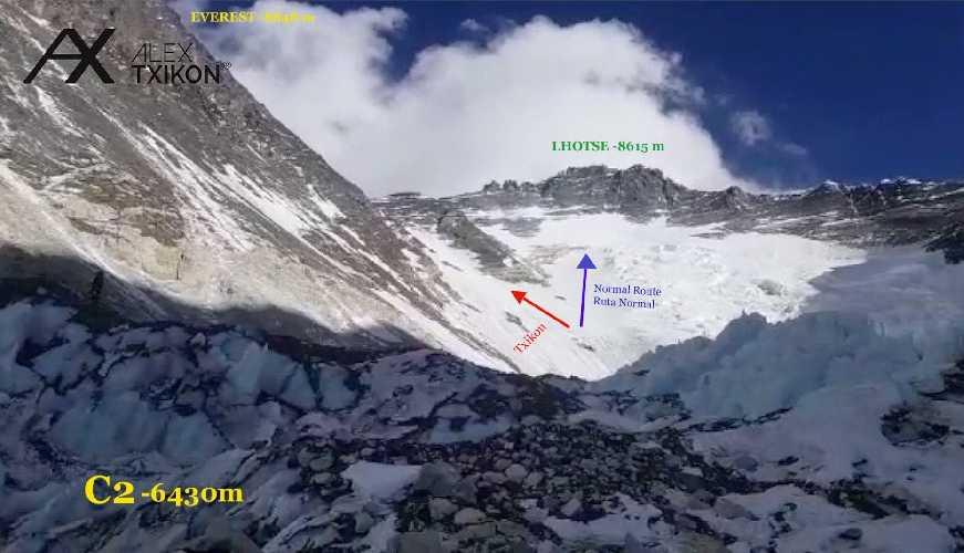 линия Алекса Тикона и стандартный маршрут на Эверест
