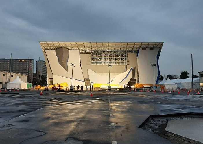Строительство главной скалолазной арены для Олимпийских Игр в Токио. Фото IFSC