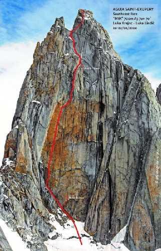 Маршрут Mir по южной стене Сент Экзюпери (Aguja Saint Exupery), 2558 метров в массиве Фитц Рой в Патагонии