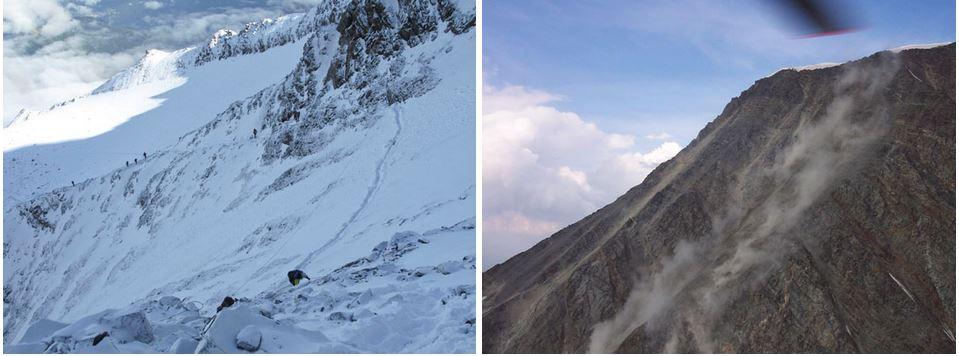 В зависимости от погодных условий внешний вид кулуара Гуте может меняться. В сухое лето вероятность камнепадов возрастает (на фото справа). Фото petzl .ru