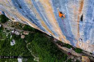 Себастьян Буин проходит один из популярнейших скалолазных маршрутов мира: Realization (Biographie) категории 9а+