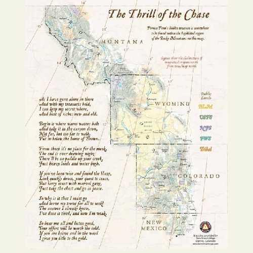 Карта с подсказками к поиску клада Форреста Фенна