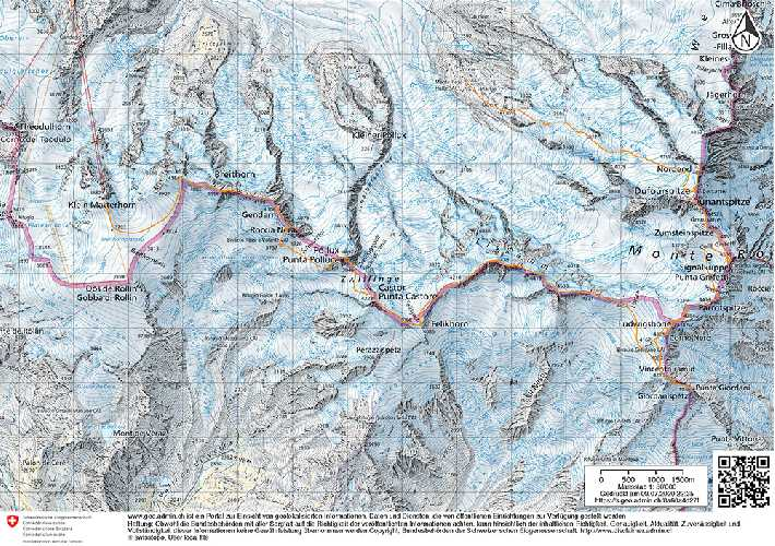 "Карта маршрута ""Spaghetti-Tour"" в массиве Монте-Роза"