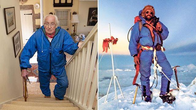 Даг Скотт (Doug Scott) на лестнице в своем доме (2020 год) и на вершине Эвереста в 1975 году