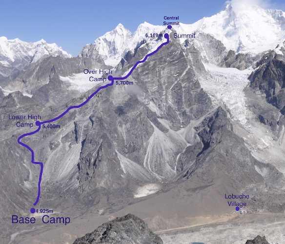 Маршрут на вершину Лобуче Восточная (6119 метров)