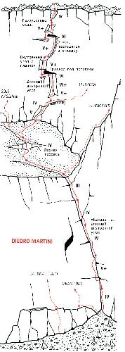 маршрут «Диедро Мартини» (Diedro Martini) VI+/R3/III, 600 м, TD- на вершину Чима алле Косте (Cima alle Coste)