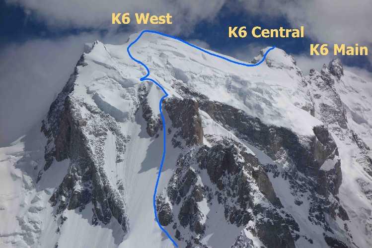 Горный гребень между К6 Западная (K6 West) и К6 Центральная (K6 Central) был покрыт глубоким снегом. Фото: Jeff Wright