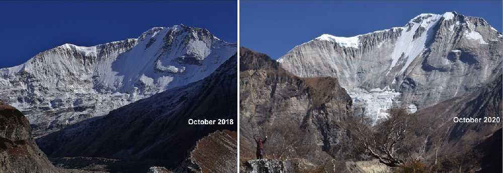 Южная стена непальской горы Сайпал (Saipal, 7031 м) в октябре 2018 года и на прошлой неделе. Фото: Basanta Pratap Singhх