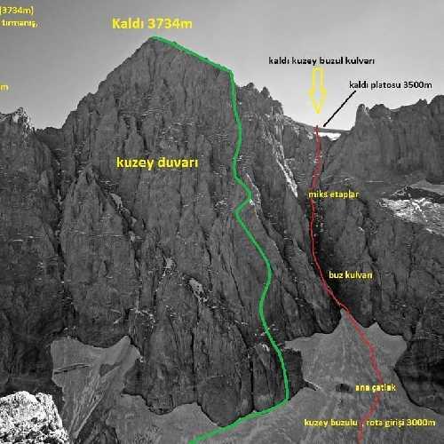 зеленым цветом  - маршрут Никиты Балабанова - Вячеслава Полежайко на вершину СЗ гребня горы Калде