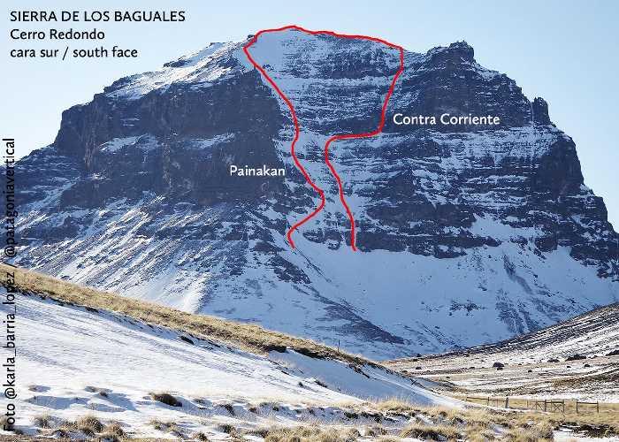 """Маршрут """"Contra Corriente"""" (WI 5 60˚/ 90˚)  по южной стене горы Серро Редондо (Cerro Redondo)"""