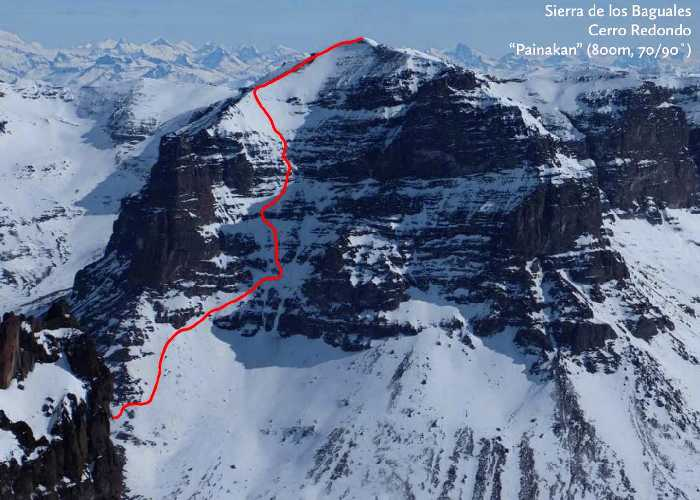 """Маршрут """"Painakan"""" (800m, 65˚/70˚ / 90˚)  по южной стене горы Серро Редондо (Cerro Redondo)"""