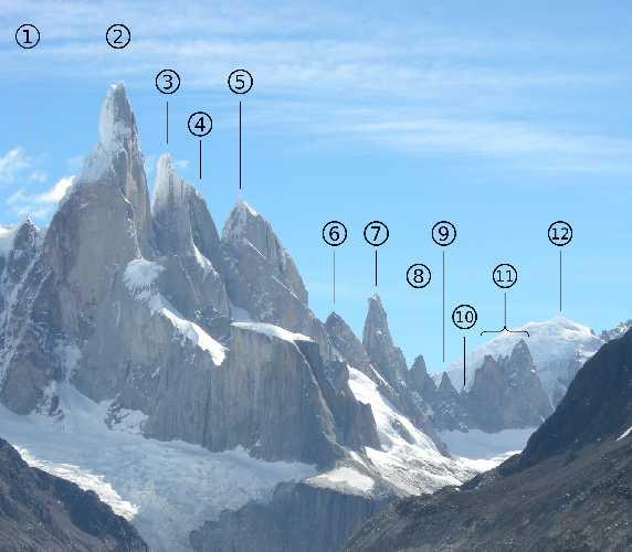 Вершины группы Cerro Torre: 2: Cerro Torre, 3: Torre Egger, 4: Punta Herron, 5: Aguja Standhart, 7: Aguja Bífida, 11: Cuatro Dedos.