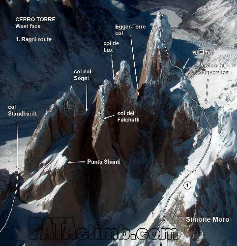 Маршрут Ragni на вершину Серро Торре (Cerro Torre, 3128 метров)