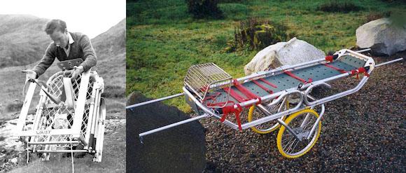 Знаменитые носилки Хэмиша МакИннеса. Слева первая модель 1960-х годов, справа - современная модернизация  MK6