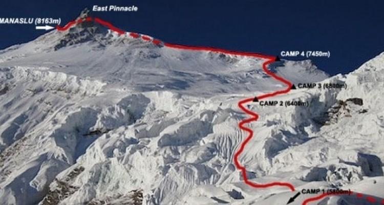 Маршрут японской команды 1956 года по Северо-Западной стене и Северному ребру - стандартный маршрут восхождения. Фрагмент у предвершинной зоны