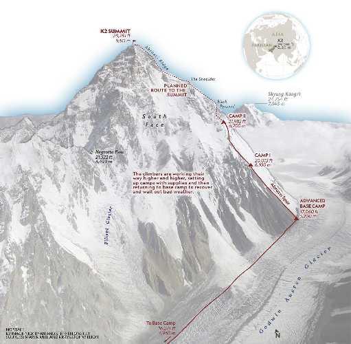 Планируемый маршрут восхождения на К2