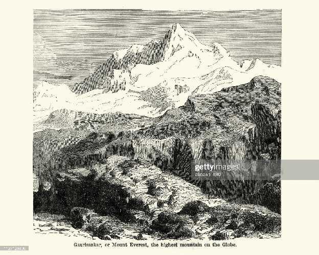 Старинная гравюра с изображением горы Эверест, XIX век