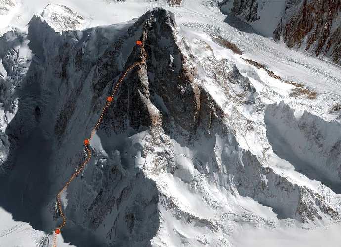 Планируемый маршрут восхождения на К2 и отметки высотных лагерей