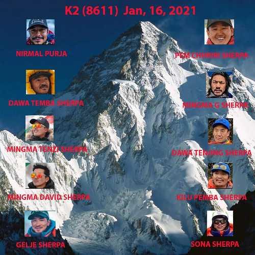 команда  Нирмала Пурджи, команда  Мингмы Шерпа и Сона Шерпа (Sona Sherpa) из команды Seven Summit Treks