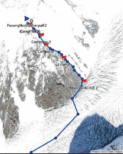 Положение Пасанг Нурбу Шерпа (Pasang Norbu Sherpa) на К2 на 13:25 по пакистанскому времени, 4 февраля 2021