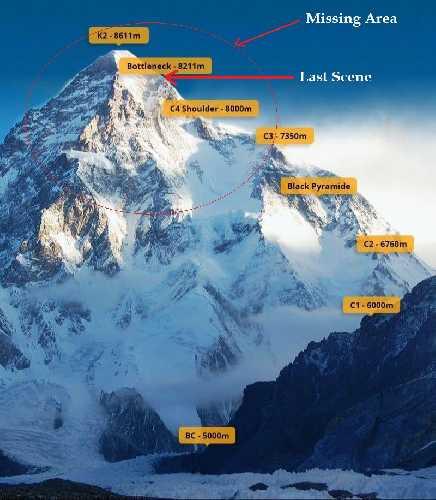 Восьмитысячник К2: место пропажи без вести и место где последний раз альпинистов видел Саджид Али