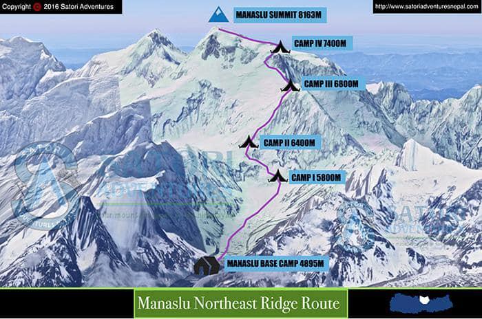 Маршрут японской команды 1956 года по Северо-Западной стене и Северному ребру - стандартный маршрут восхождения