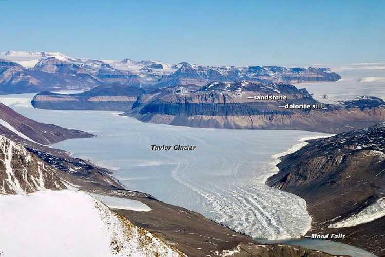 Место Кровавого водопада на леднике Тейлор. Фото из Википедии