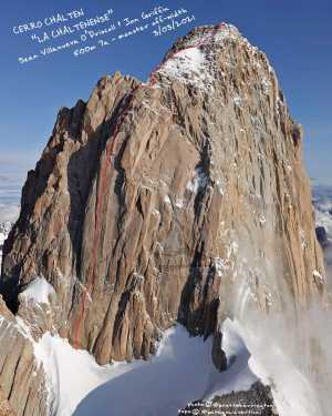 Новый маршрут в Патагонии на вершину Фицрой от Шона Виллануэва и Джонатана Гриффина