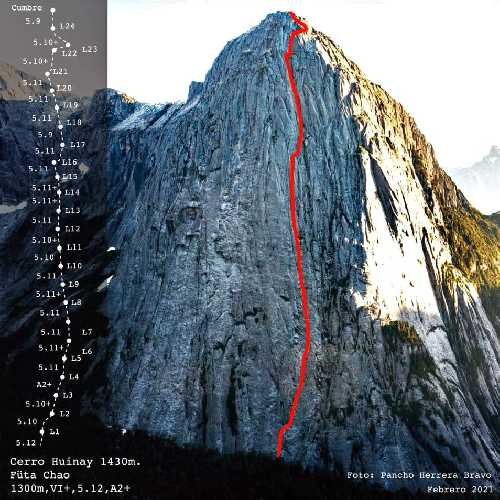 "маршрут ""Füta Chao"" на северной стене пика Серро-Хуинай (Cerro Huinay) в горах Лос-Лагос, Чили"